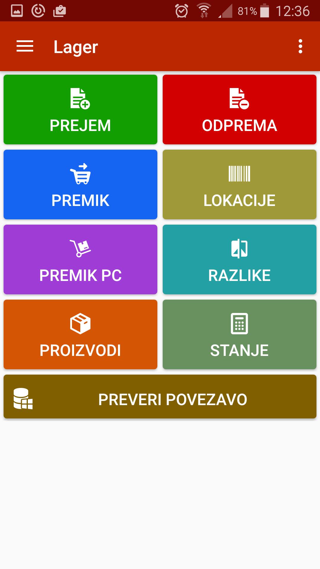Osnovno okno aplikacije Lager