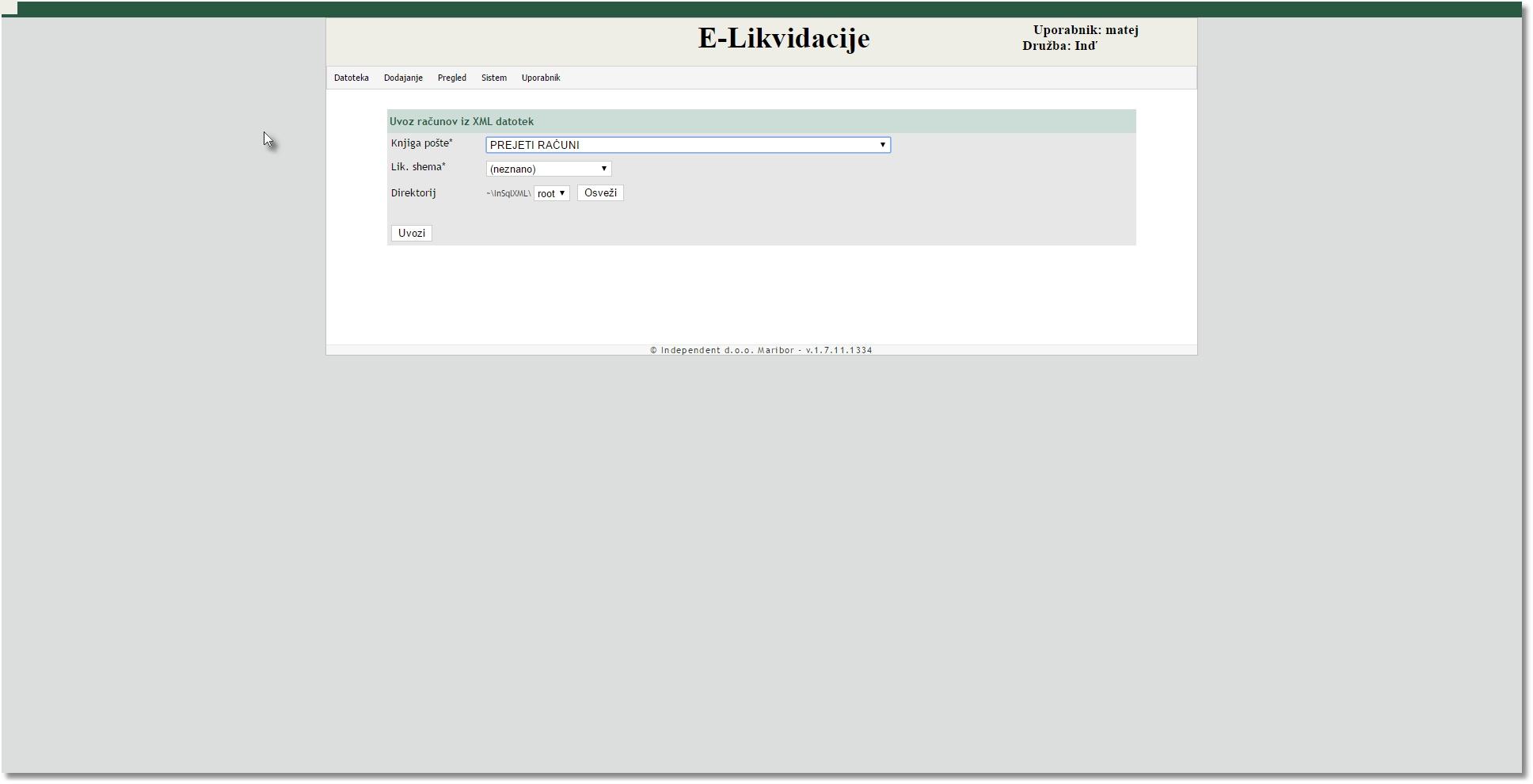 e-Likvidacije - spletni dokumentarni sistem Uvoz prejetih XML računov